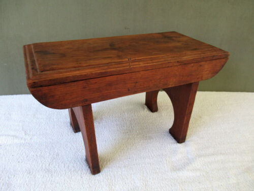 "Antique Foot Stool, Small Bench Vintage Primitive Oak Wood 18"" x 9"" Footstool"