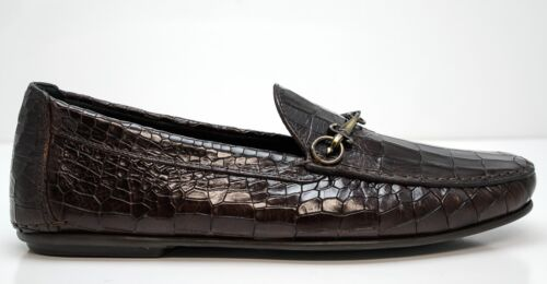 New in Box Cesare Paciotti Men's Brown Cocco Croc Print Leather Moccasin 49005