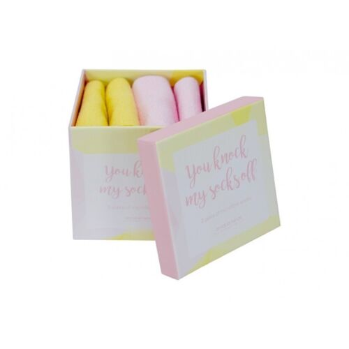 Annabel Trends Microfibre Socks You Knock My Socks Off Yellow/Pink Gift Box Set