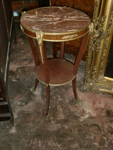 ANTIQUE FRENCH LXV STYLE BRONZE DECORATIONS, MARBLE TOP 19TH C CENTER TABLE