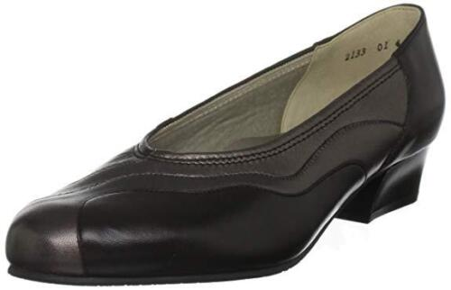 RRP £65 EQUITY MOLLY BLACK LEATHER FLAT COMFORT COURT SHOES SIZE 3.5 EE WIDE FIT