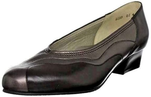 RRP £65 EQUITY MOLLY BROWN LEATHER LOW COMFORT COURT SHOES SIZE 3.5 EE WIDE FIT
