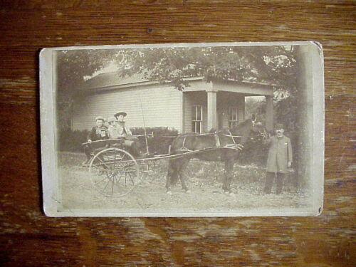 Antique CABINET CARD PHOTO of 4 CHILDREN in Horse Drawn Cart BINGHAMTON NY