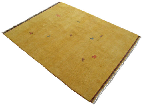 High Pile Area Rug Hand Knotted Yellow Background Gabbeh Carpet Rug 6'5'' x 8'5""