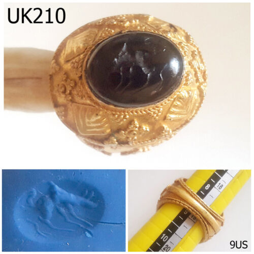 Rare Stunning INTAGLIO Horse Agate Stone Gold Plated Ring Size 9US #UK210a