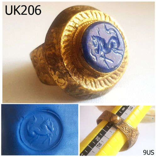 Historic Old Shield Lapis Intaglio Horse Gold Plated Ring Size 9 US #UK206a