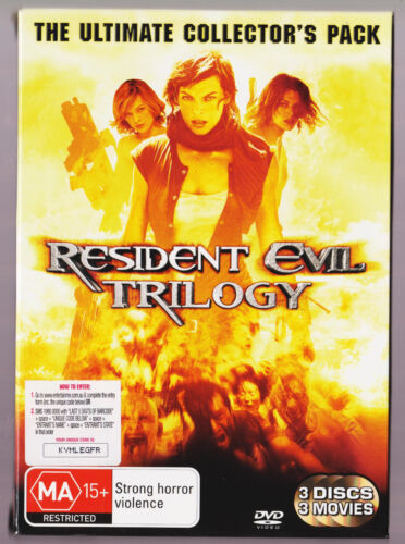 LIKE NEW - RESIDENT EVIL TRILOGY - (DVD 3 DISC COLLECTORS PACK)