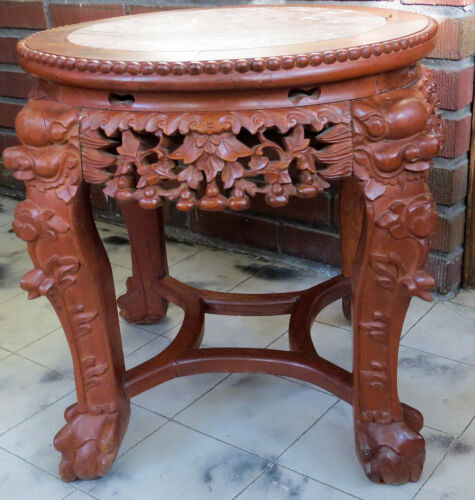 "Antique~CARVED 18""H WOOD&MARBLE CHINESE/ASIAN/ORIENTAL PLANT STAND/TABLE"