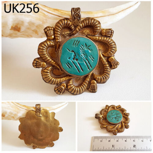 Old Medusa Snake Turquoise With Horse Intaglio Gold Plated Pendant #UK256a