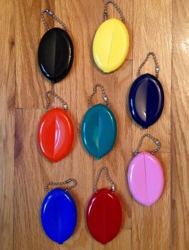 RUBBER SQUEEZE OVAL COIN PURSE MENS WOMENS MONEY HOLDER WALLET - Made in USA