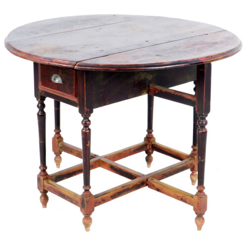 Antique Asian Chinese 42 inch Round Drop Leaf Gate Leg Table