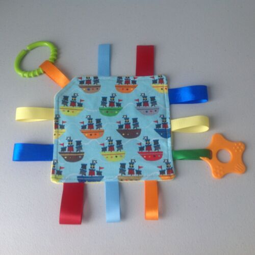 Handmade Mini Crinkle Taggy/Taggie Toy Blanket With Teether ~ Pirate Ships