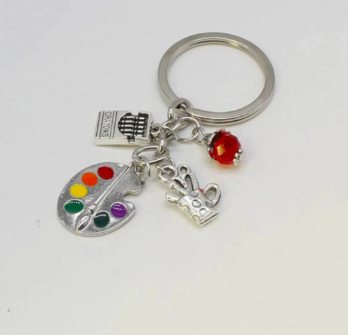 Painter Keychain with Paint Palette & Brush Charms ~ Painting Artist Keyring