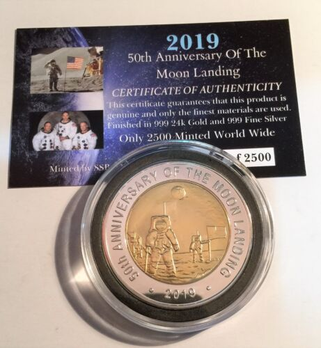 """2019 """"50th Anniversary Of The Moon Landing"""" 43 mm Coin, Limited to 2500 C.O.A"""