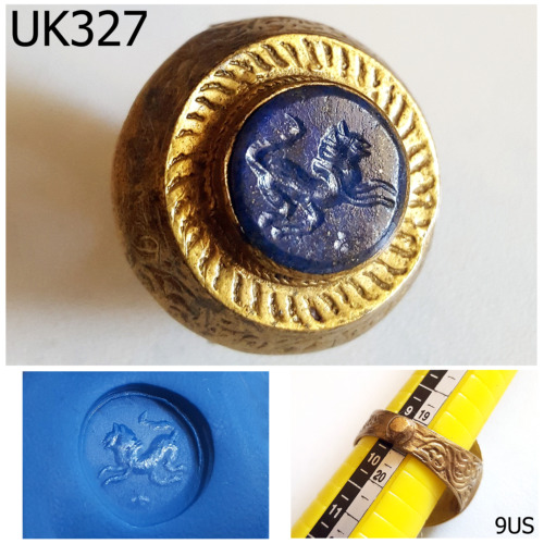 Historic Old Shield Lapis Intaglio Lion Gold Plated Ring Size 9 US #UK327a