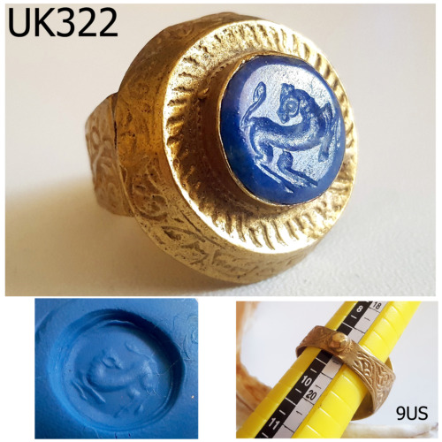 Historic Old Shield Lapis Intaglio Horse Gold Plated Ring Size 9 US #UK322a