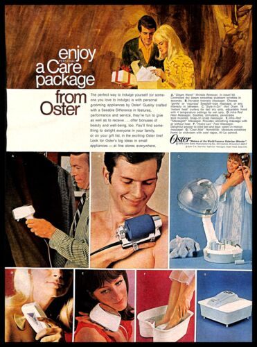 1970 Oster Personal Care Appliances Package Vintage PRINT AD Massagers 1970s