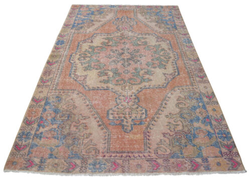 Vintage Oushak Rug Hand Knotted Faded Fashion Distressed Area Rug 4'6'' x 7'3''