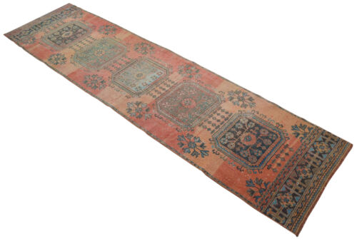 Distressed Runner Rug Hand Knotted FADED Turkish Oushak Rug 2'12'' x 11'2'' CHIC