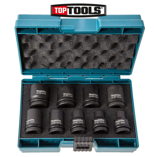 Makita D-41517 9 Piece 8mm to 24mm Impact Socket Set 1/2 Square Drive in case