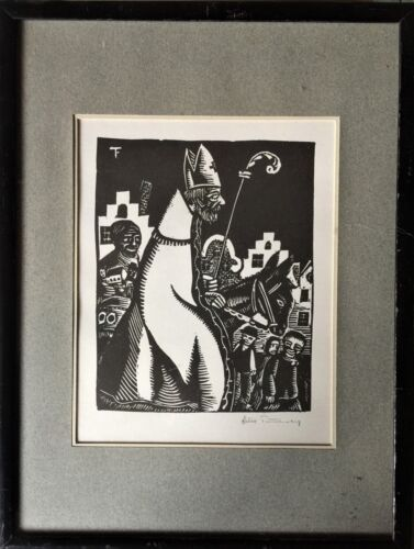FELIX TIMMERMANS (1886-1947): WOODCUT SAINT NICOLAS - LISTED - SIGNED IN PENCIL