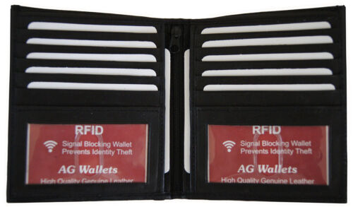 AG Wallets Mens RFID Hipster Bifold Leather Wallet 2 ID 10 Card Holder Black NEW