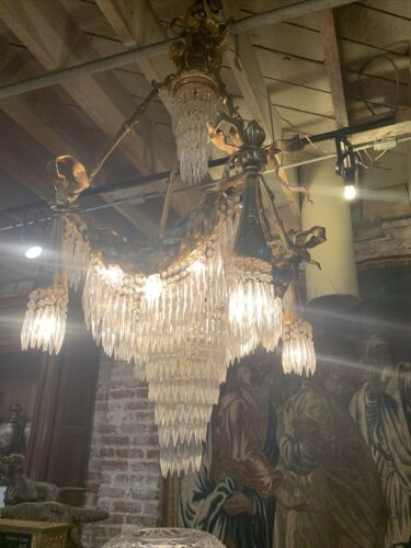 ANTIQUE  FRENCH GILDED BRONZE CRYSTAL PALACE CHANDELIER, CIRCA 1880, GORGIOUS
