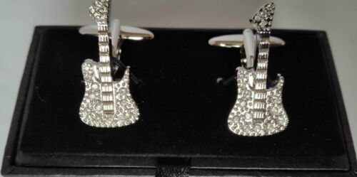 Diamante Electric Guitar silver-plated torpedo cufflinks in padded gift box