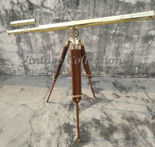 """39"""" Antique Brass Double Barrel Folding Telescope with Wooden Tripod Stand Decor"""