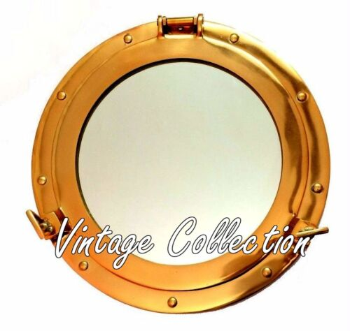 "12"" Maritime Brass Porthole Round Window Glass Nautical Boat Ship Decor Mirror"