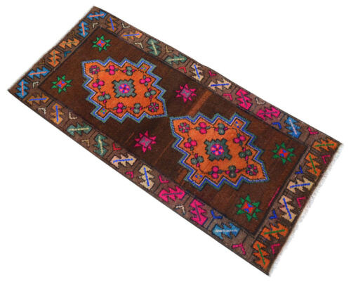 "1'7"" x 3'5"" Distressed Small Area Rug Hand Knotted Turkish Yastik Mat 49x105 cm"