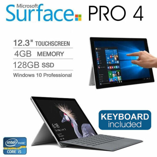 "Microsoft Surface Pro 4 1724 12.3"" Touch i5 6300u 4GB 128GB SSD Tablet +Keyboard"