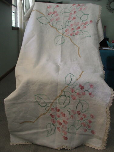 Vintage Hand Embroided Linen Table Cloth With Crochet Trim ~ Large 130 X 134 CM