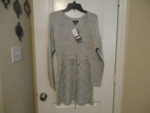 NWT OH BABY BY MOTHERHOOD Size L Silver Gray Sweater Tunic Tie In Front