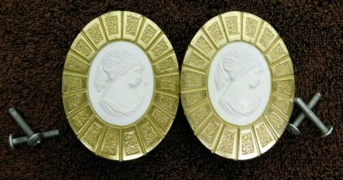 2 PACK Vintage Hyer Antique Oval Drawer Cabinet Pull Victorian Lady Cameo White