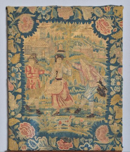 WONDERFUL ANTIQUE 17th 18th CENTURY ENGLISH BRITISH ROMANTIC EMBROIDERY TAPESTRY
