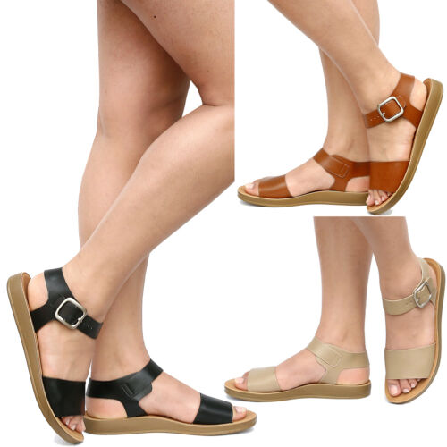 New Women Comfy Flexible Sole Gladiator Ankle Strap Flat Sandals