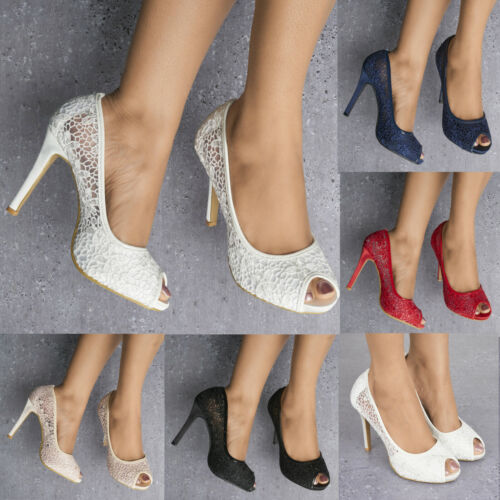 LADIES LACE EMBELLISHED HIGH HEEL PEEP TOE SHOES PUMPS EVENING DRESS HEELS 3-8