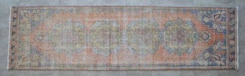 """Faded Hand Knotted Oushak Runner Muted Color Turkish Distressed Rug 2'6"""" x 8'10"""""""