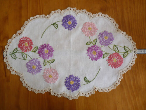 BRIGHT CHRYSANTHEMUMS  Vintage Hand Embroidered Large Doily/ Table Centre