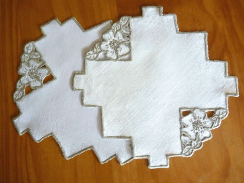 GORGEOUS CUTWORK Hand Worked Vintage Doily Pair Taupe & Off-White