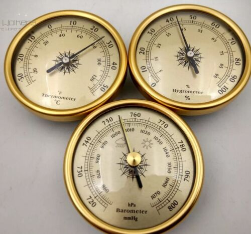 set of 3 By 70mm Diameter Barometer hygrometer thermometer  silver OUT OF GOLD