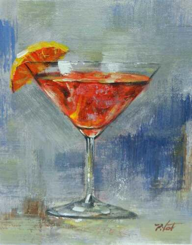 8x10 Martini Red Orange Cocktail Original Canvas Oil Painting New Wall Art Work