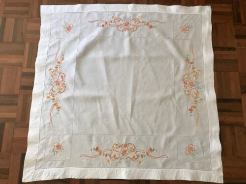 Vintage hand embroidered colourful floral ribbon design white linen tablecloth