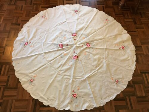 Vintage large white linen tablecloth round rose floral bow machine embroidery