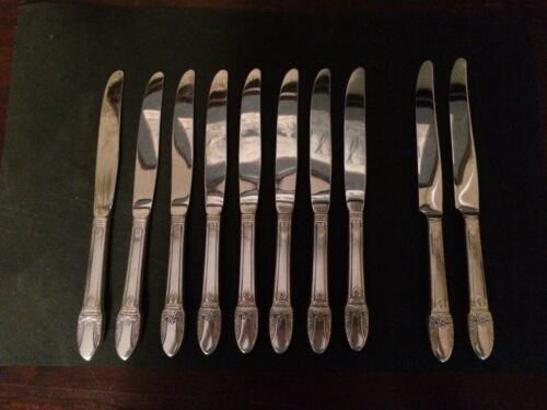 REDUCED 10 First Love Dinner Knives (2 French Blades) Rogers Bros silver plated