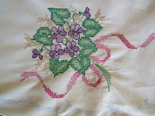 VIOLET POSIES Gorgeous Cross-Stitch Hand Embroidered Round Table Cloth TO FINISH