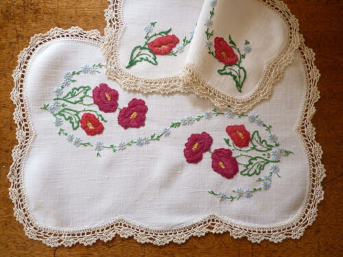 RED & ORANGE POPPIES Vintage Heavily Hand Embroidered Duchess Set 3pcs