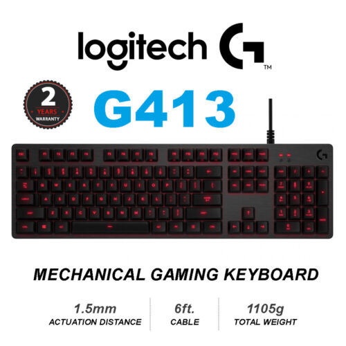 LOGITECH G413 Mechanical Gaming Keyboard Black 2YR WTY