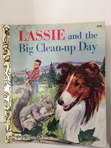 LGB  Little Golden Book SC FREE POST LASSIE & THE BIG CLEAN UP DAY 1978 #E572